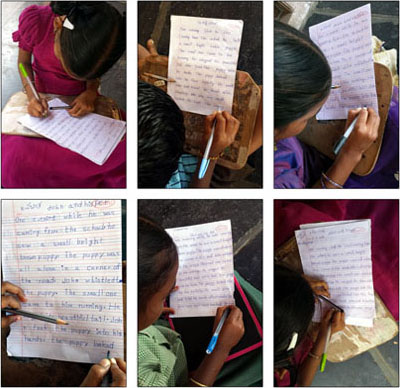 Children involved in hand writing classes