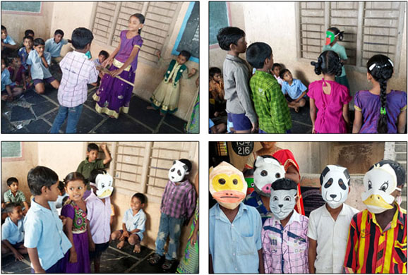 Children performing skits on moral stories