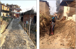 Two photos of road construction in Nepal