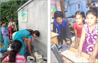Photos from Nepal of a rehabilitated waterpoint and a community centre