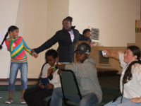 Young people acting